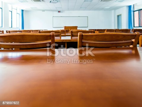 istock Wooden tables and chairs in the classroom 879597622