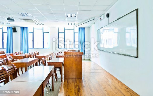 istock Wooden tables and chairs in the classroom 879597708