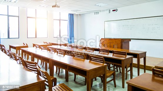 istock Wooden tables and chairs in the classroom 879597748