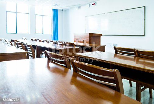 istock Wooden tables and chairs in the classroom 879597754