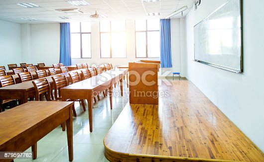 istock Wooden tables and chairs in the classroom 879597762