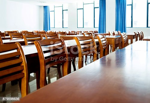 881192038istockphoto Wooden tables and chairs in the classroom 879598636