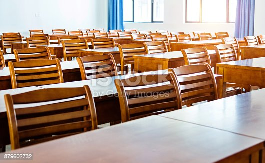 881192038istockphoto Wooden tables and chairs in the classroom 879602732