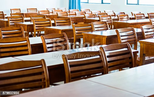 881192038istockphoto Wooden tables and chairs in the classroom 879602934