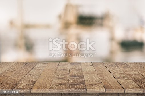 istock Wooden tabletop perspective for product placement 831861334