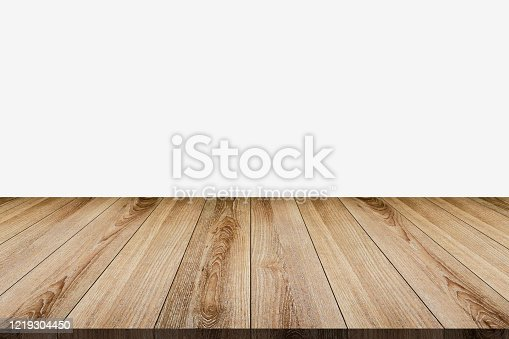 642100994 istock photo Wooden tabletop template mockup for display merchandise ,wooden shelf table isolated on grey background 1219304450