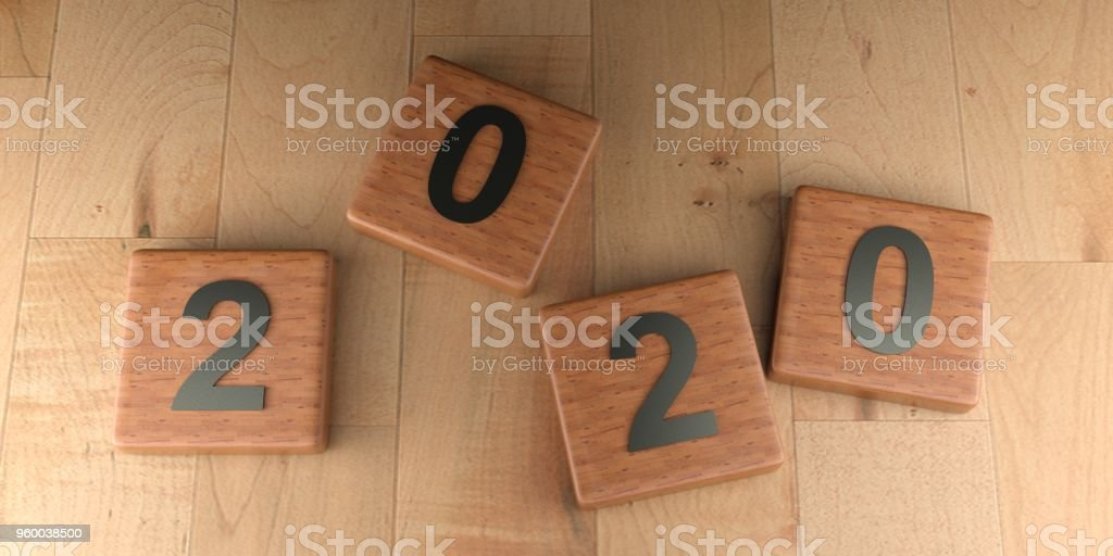 2020 wooden tags - 3D rendering stock photo