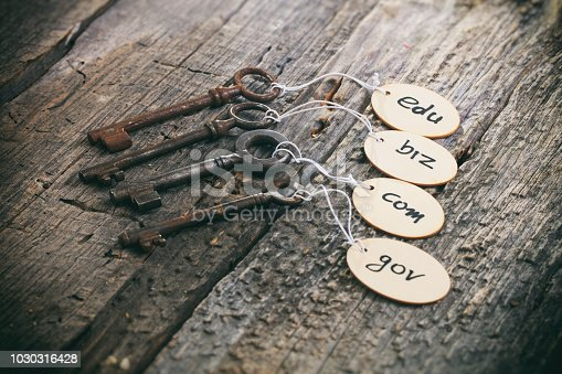Wooden tags with domain names on old rusty keys, on wooden surface.