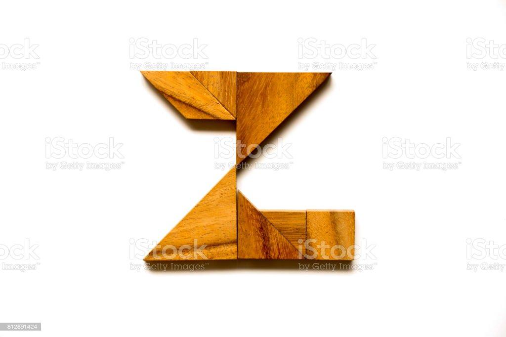 Tangram En Bois Puzzle Comme Lettre De Lalphabet Anglais En Forme De