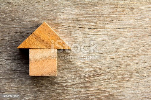 istock Wooden tangram puzzle in home shape for dream home or happy life concept 689259192
