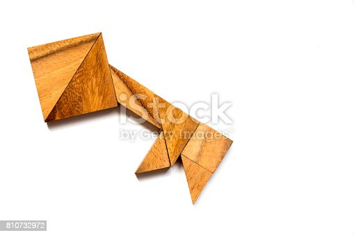 istock Wooden tangram puzzle in key shape on white background (Concept of data security, authurized access, safety) 810732972