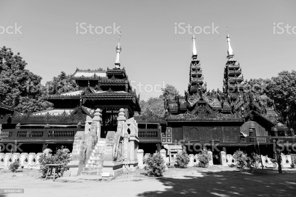 Wooden temple with beautiful carvings in Bagan, Myanmar stock photo