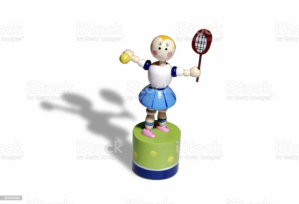 wooden tennis puppet royalty-free stock photo