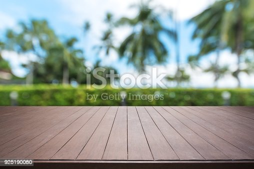601026242 istock photo Wooden terrace and tropical garden abstract background 925190080