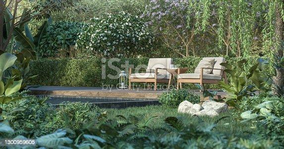 istock Wooden terrace in the tropical garden 3d render 1300959605