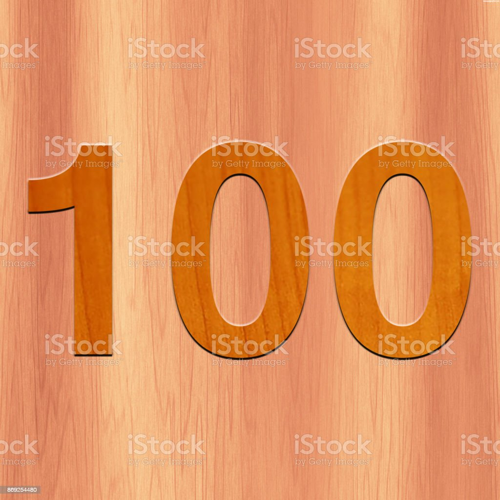 Wooden Text 100 in nice Background stock photo