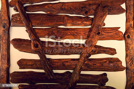 wooden boards are nailed on a white wall for a decor, pastel wood planks texture background