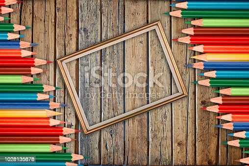 istock Wooden textured table from above and back to school concept 1028135878