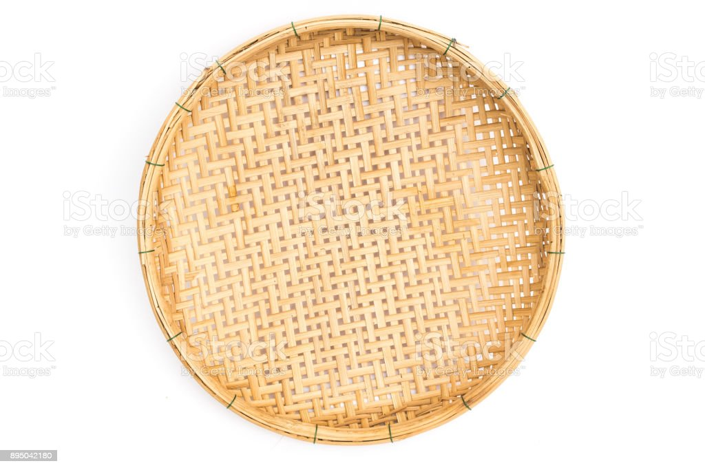wooden threshing basket (bamboo) stock photo