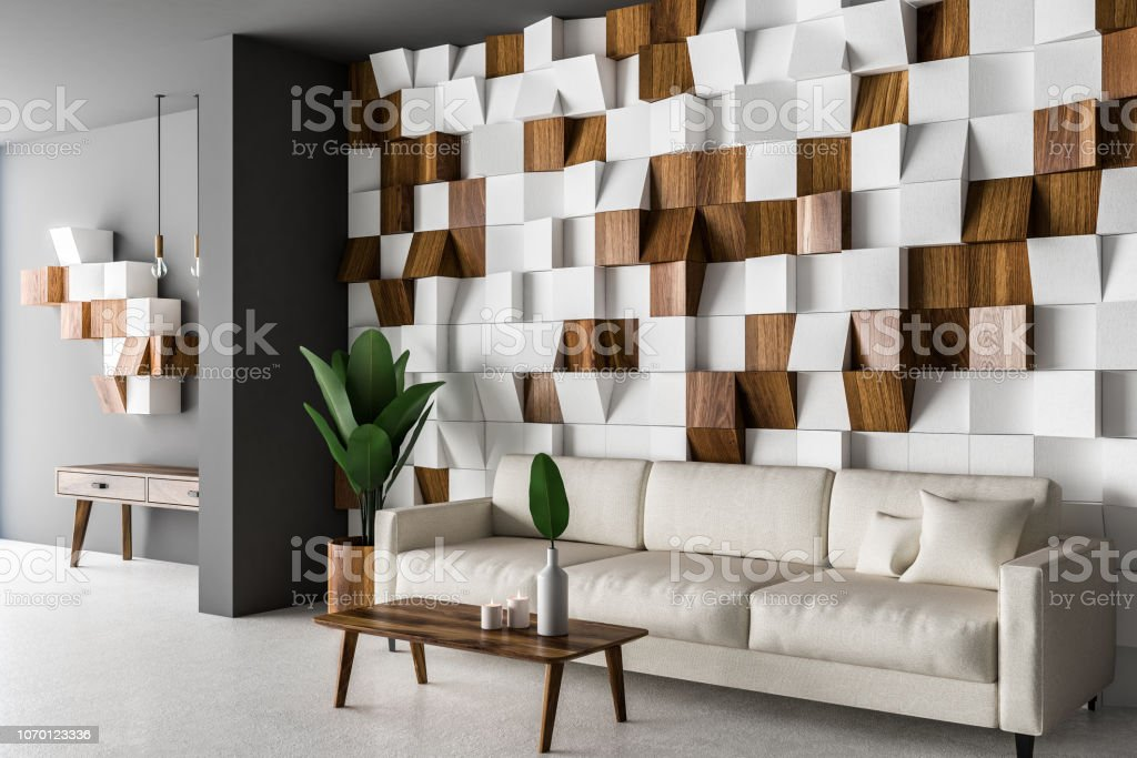 Wooden Tiles Living Room Corner White Sofa Stock Photo Download Image Now Istock