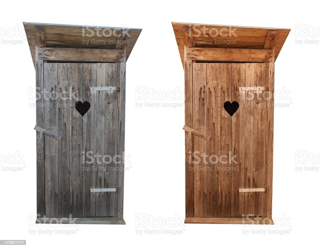 Wooden toilets isolated on white stock photo
