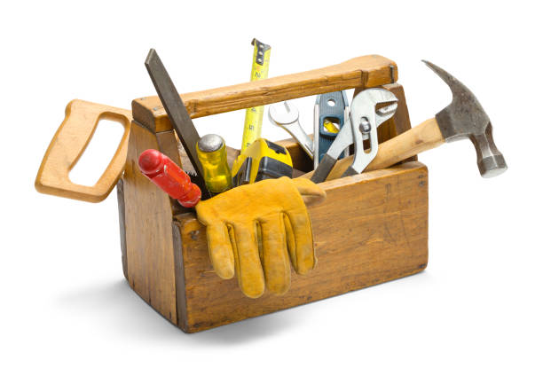 Wooden Tool Box Old Wooden Tool Box Full of Tools Isolated on White Background. work tool stock pictures, royalty-free photos & images