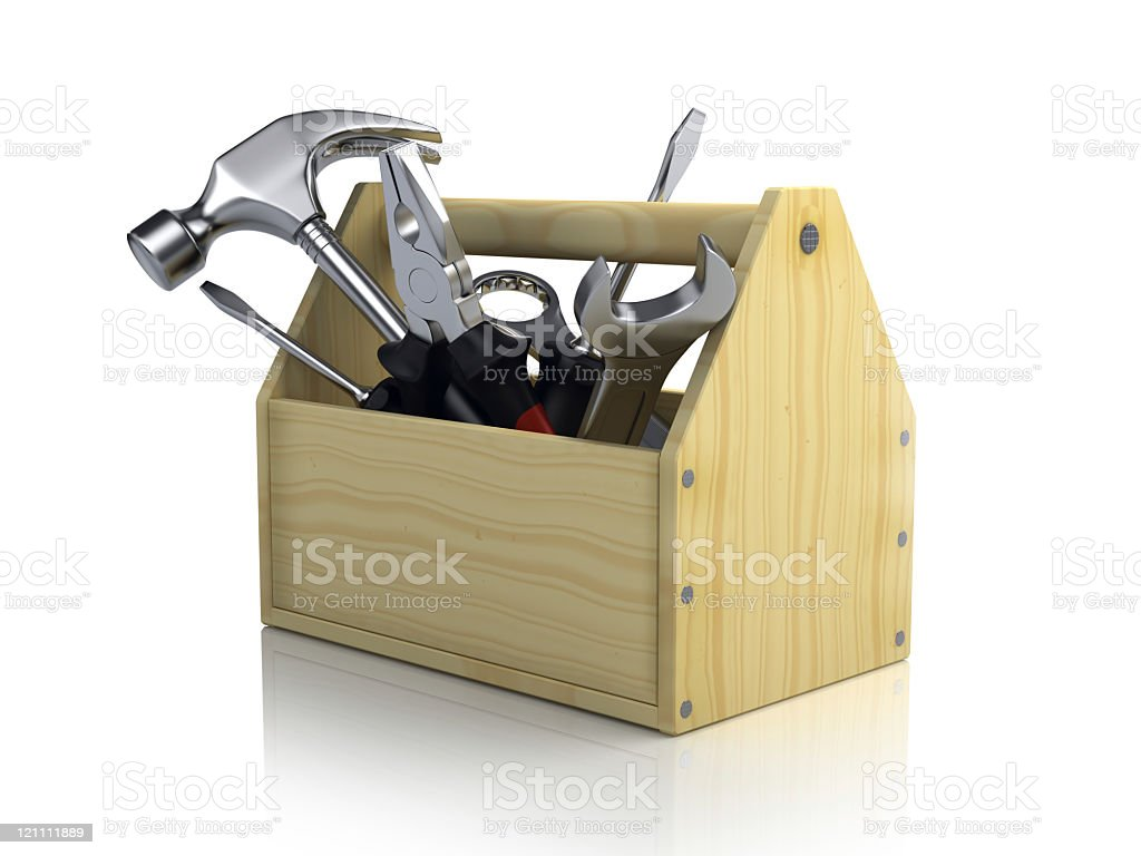 Wooden tool box with various tools  royalty-free stock photo