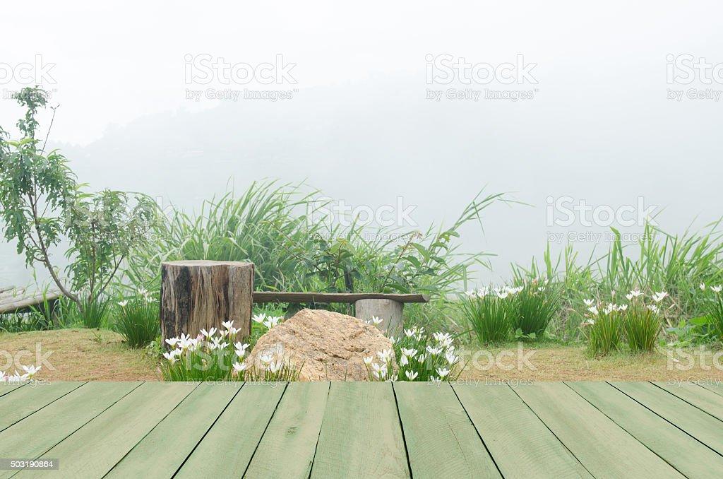 Mesa de madera con fondo de la naturaleza. - foto de stock