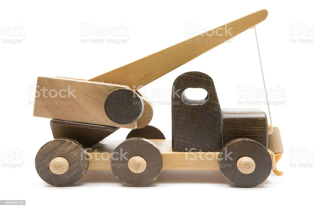 Wooden Tow Truck Toy royalty-free stock photo