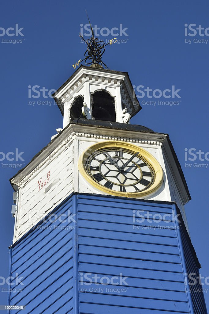 wooden town clock close up royalty-free stock photo