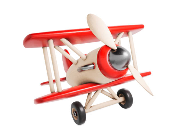 wooden toy airplane 3d render illustration isolated on white background - toy stock pictures, royalty-free photos & images