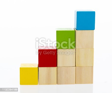 istock Wooden toy block stairs on white background 1132264189