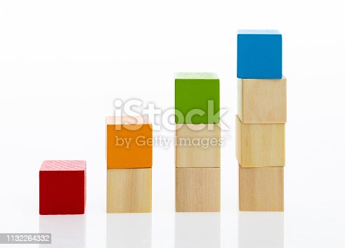istock Wooden toy block stairs on white background 1132264332