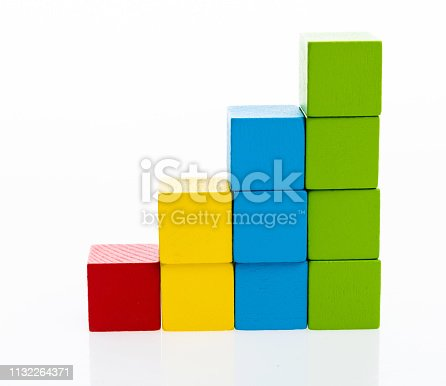 173937666istockphoto Wooden toy block stairs on white background 1132264371