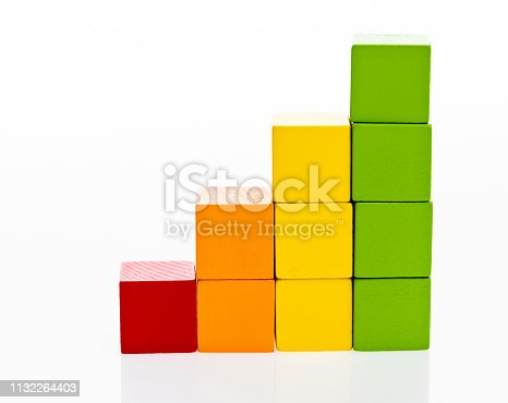 173937666istockphoto Wooden toy block stairs on white background 1132264403