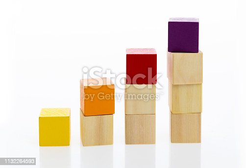 173937666istockphoto Wooden toy block stairs on white background 1132264593
