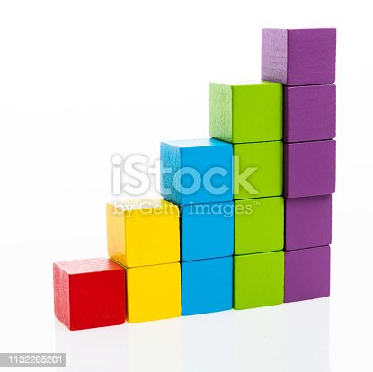 173937666istockphoto Wooden toy block stairs on white background 1132265201