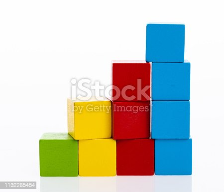 173937666istockphoto Wooden toy block stairs on white background 1132265454