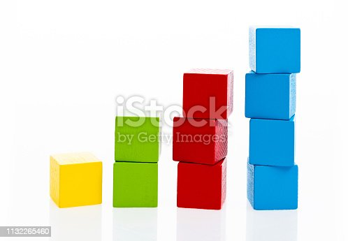 173937666istockphoto Wooden toy block stairs on white background 1132265460