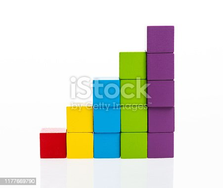 173937666istockphoto Wooden toy block stairs on white background 1177669790