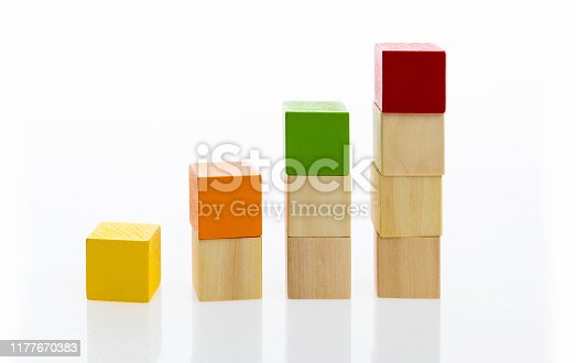 173937666istockphoto Wooden toy block stairs on white background 1177670383