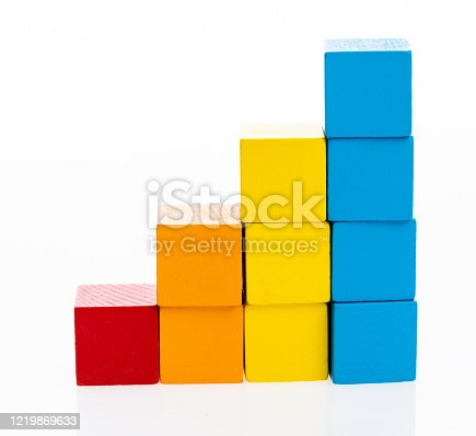 173937666 istock photo Wooden toy block stairs on white background 1219869633
