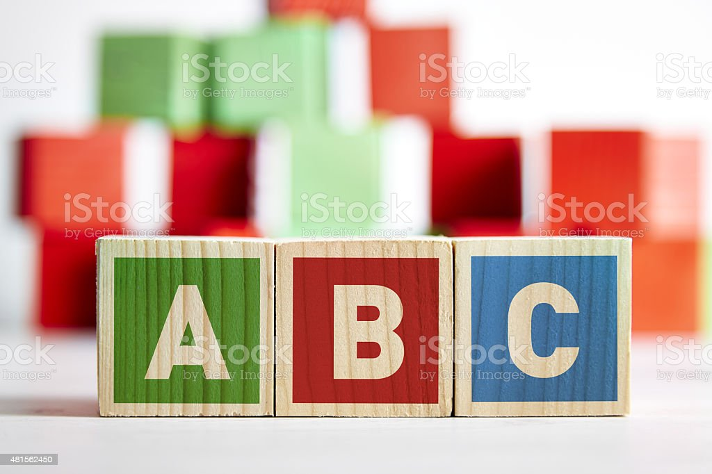 ABC wooden toy cubes stock photo