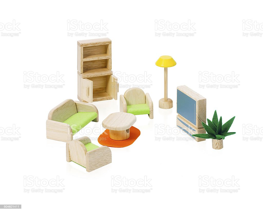 Wooden toy furniture for children isolated stock photo