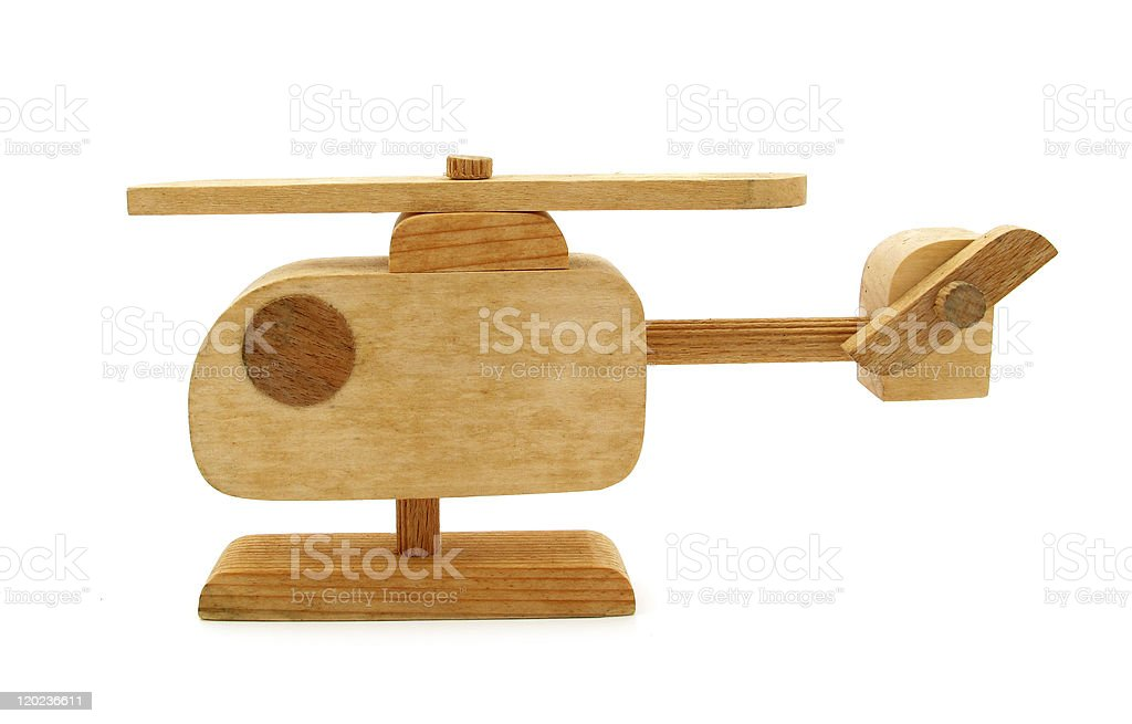 Wooden toy helicopter stock photo