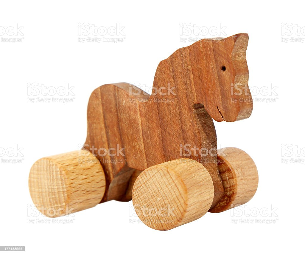 Wooden toy horse with wheels royalty-free stock photo