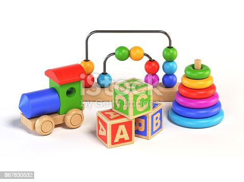873187696 istock photo Wooden toys on white background 3d rendering 867830532