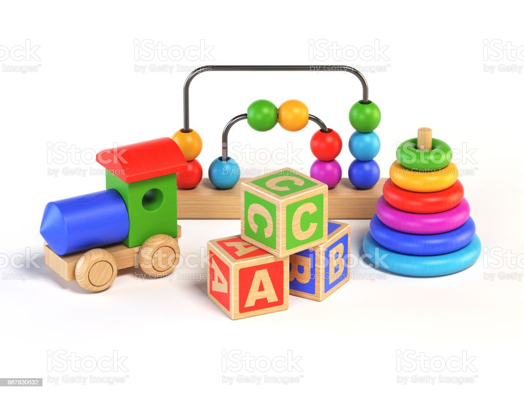 Wooden toys on white background 3d rendering stock photo