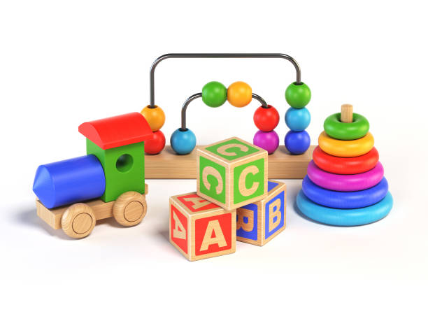 wooden toys on white background 3d rendering - man made object stock photos and pictures