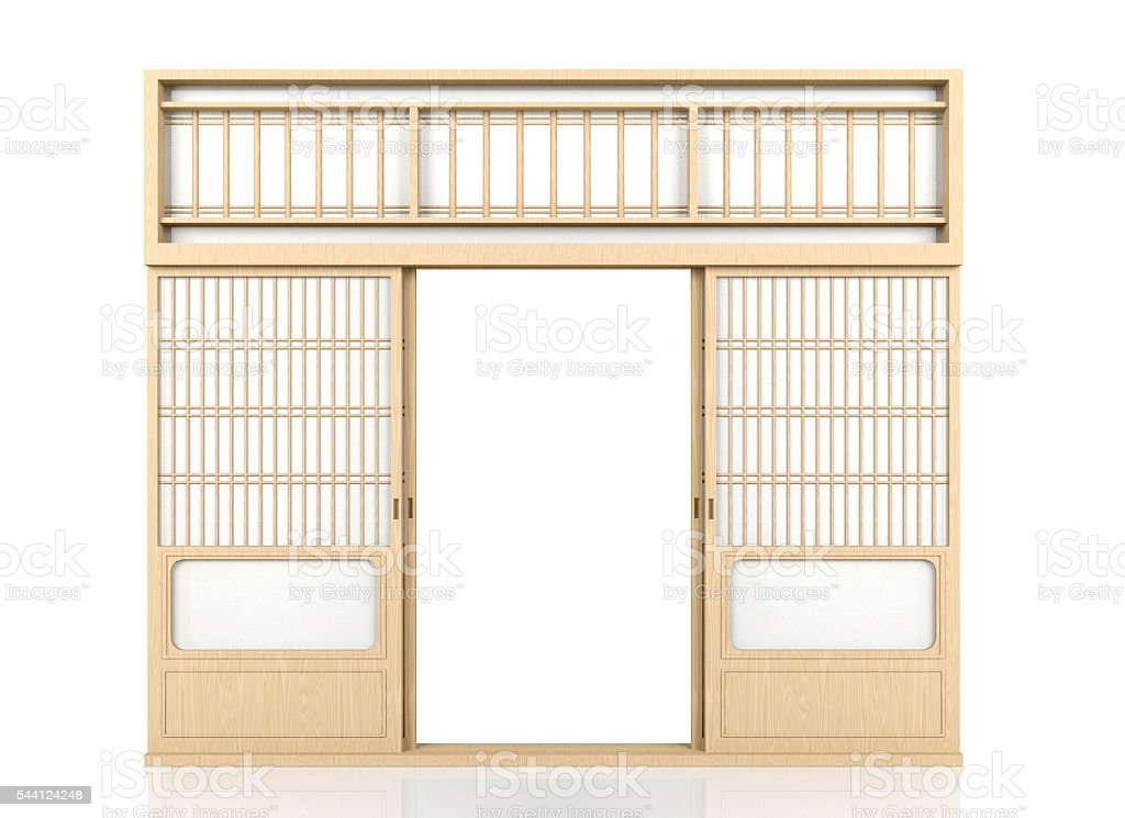Wooden traditional Japanese Shoji door isolated on white background stock photo